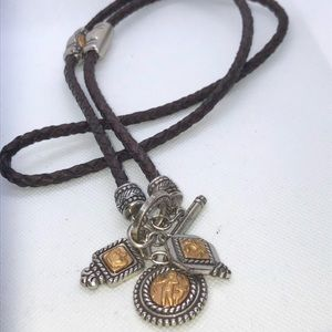 Vintage Brighton Braided Lariat Charmed Necklace